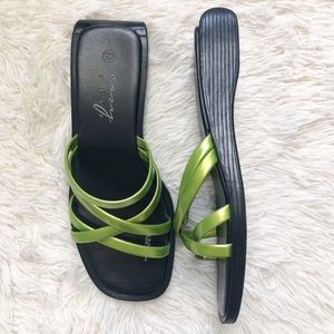 Easy Step Square Toe Green Strappy Sandals 7 Y2K